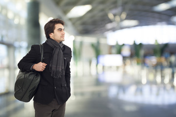 Young man waiting in airport