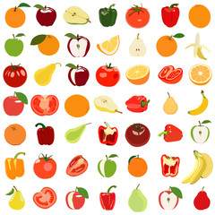 Set of colored fruits and vegetables. Vector illustration. Isola