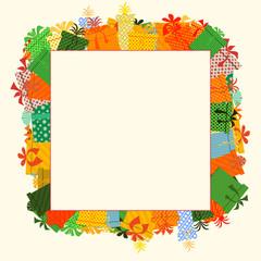 Frame of gifts box. Flat design style illustration.