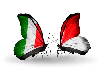 Two butterflies with flags Italy and Monaco, Indonesia
