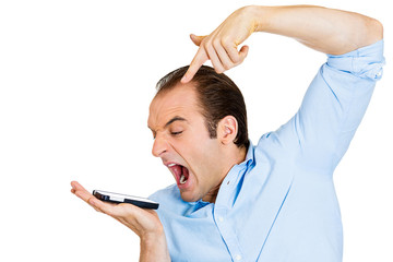 angry handsome young man shouting while on phone