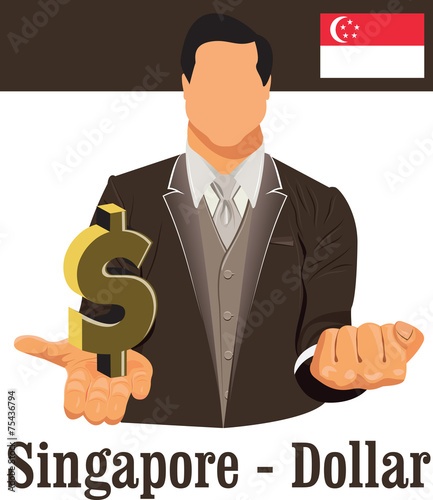 Singapore National Currency Symbol Dollar Representing Money And