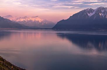 Evening Lake Geneva and the Alps