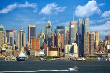 Manhattan urban skyscrapers over Hudson River, New York City