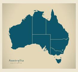 Modern Map - Australia with states AU