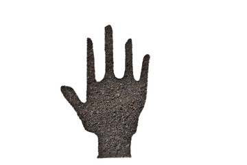 coffee grounds, hand shape