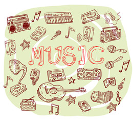 Music symbols - doodles collection