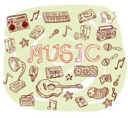 Music symbols - doodles collection