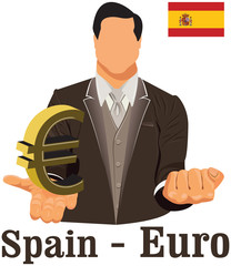 Spain currency symbol euro representing money and Flag.