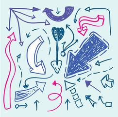 Set of arrows, hand drawn vector illustration.