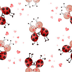 Seamless pattern with cute couple of lady bugs kissing.