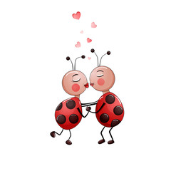 Cute couple of lady bugs kissing isolated on white.