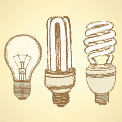 Sketch economic light bulb in vintage style