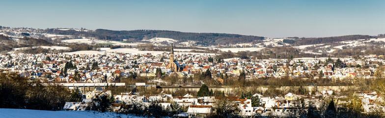 Panorama Winterlandschaft Hösbach  mit Schnee