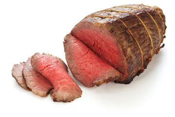 roast beef isolated on white background