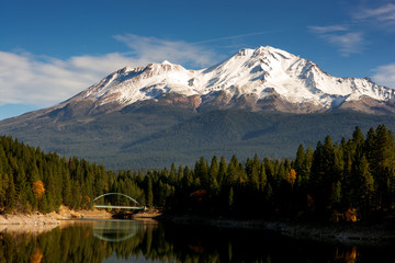Mt Shasta Mountain Lake Modest Bridge California Recreation Land