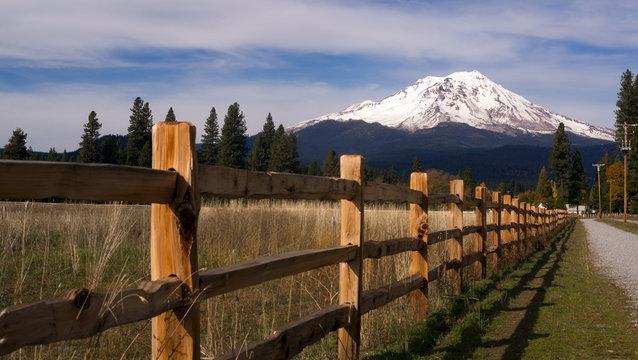 Ranch Fence Row Countryside Rural California Mt Shasta