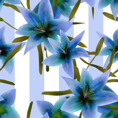 Seamless pattern with blue lilies texture background