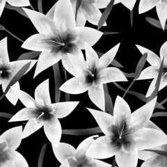 Seamless pattern with lilies monochrome texture background