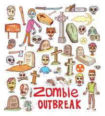 zombie cartoon character set, vector illustration.