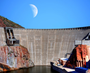 Wall Murals Dam Roosevelt Dam and Moon