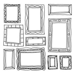 Set picture frames, hand drawn vector illustration.