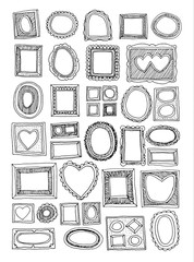 Set picture frames, hand drawn vector illustration.