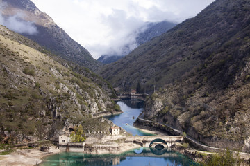 Lago di San Domenico,a Villalago Aquila. Panoramica.