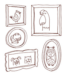 Set picture frames with animals portrait,vector illustration.