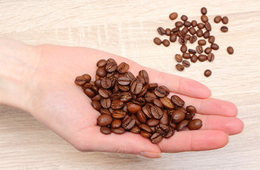 Heap of coffee grains in hand