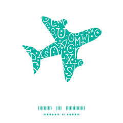 Vector white on green alphabet letters airplane silhouette