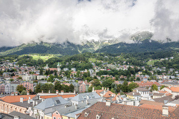General view of Innsbruck, the capital city of the federal state of Tyrol (Tirol) located in the Inn Valley in western Austria.