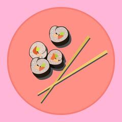 Sticker of sushi and chopsticks. Japanese food