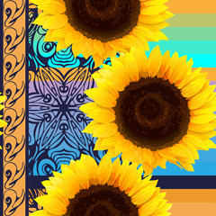 seamless pattern of sunflowers with vertical ornament element an