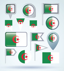 Flag set of Algeria, vector illustration
