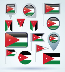 Flag set of Jordan, vector illustration