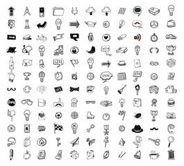 Big doodle set, collection icon, vector.