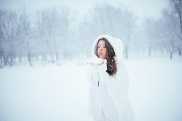 Blowing snowflakes
