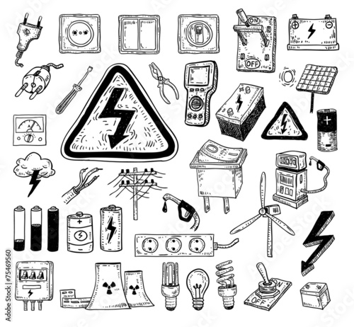 Electricity Doodle Icon Collection Vector Illustration Stock