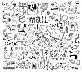 E-mail doodle set. Hand-drawn vector illustration.