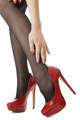 Sexy Woman Legs Wearing High Heel Shoes