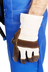 Worker hand with protection glove