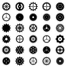 Set of gear wheels, vector illustration.