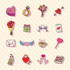 Set of love icons, vector illustration.