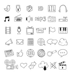 Web multimedia icons set
