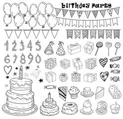 Birthday party elements, vector illustration.