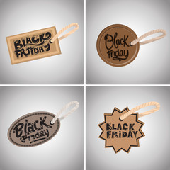 Black Friday Tag Set - Isolated On Gray Background