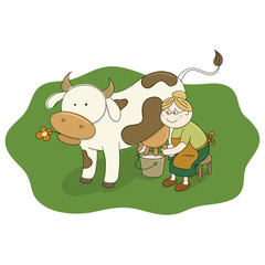 Milkmaid Milking a Cow