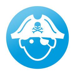 Etiqueta tipo app redonda pirata