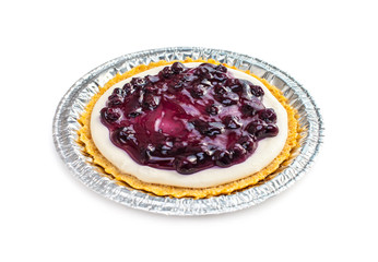 Blueberry cheese pie in tray isolated on white background